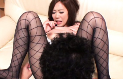 Kaori saejima. Kaori Saejima Asian busty has twat licked through ripped nylon